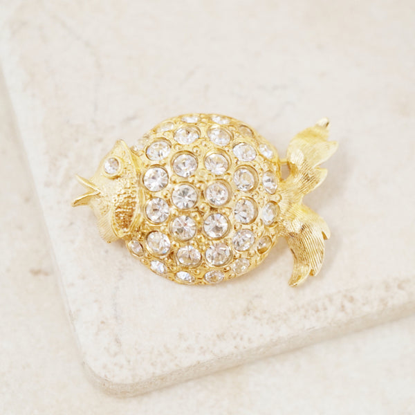 Vintage Gilded Rhinestone Blowfish Brooch, 1980s