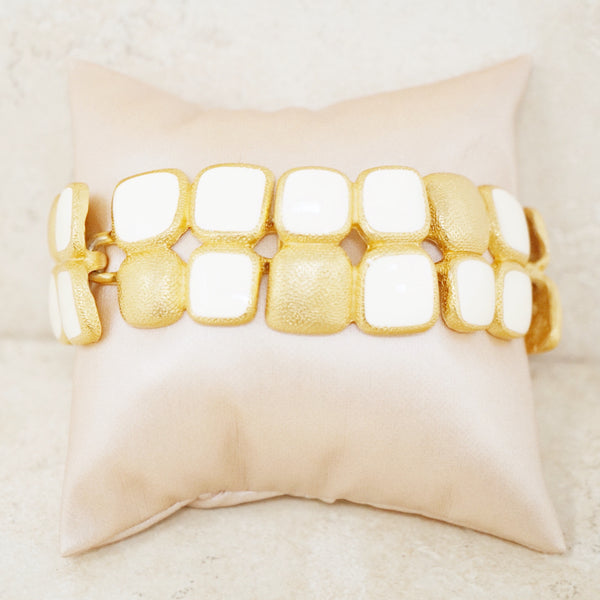 Vintage Gilt & Cream Enamel Abstract Squares Bracelet by Anne Klein, 1980s