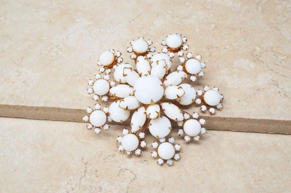 Floral Motif Milk Glass Brooch