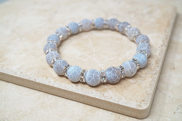 Gray Fire Agate Gemstone Bracelet