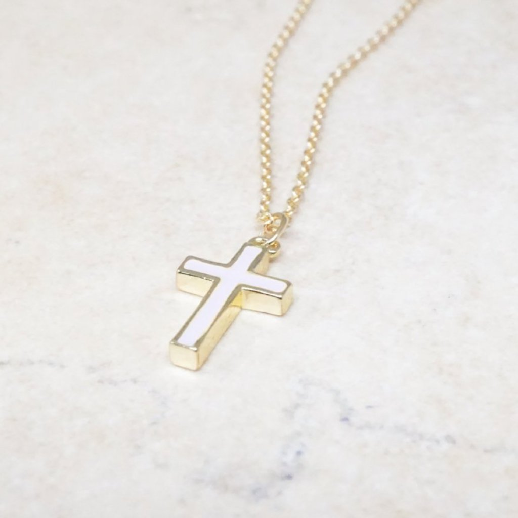 Dainty Lavender Cross Necklace