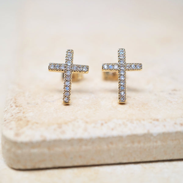 Pavé Cross Earrings