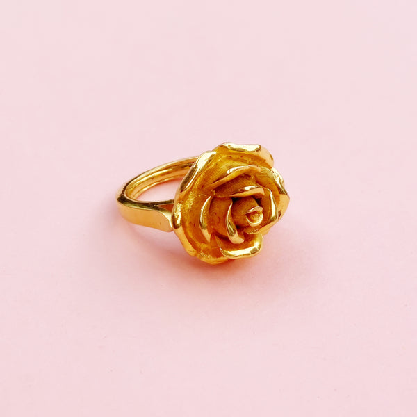 Vintage Gilded Rose Ring (Size 5) by Crown Trifari, 1950s