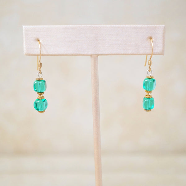 Vintage Emerald Green Drop Earrings, 1970s