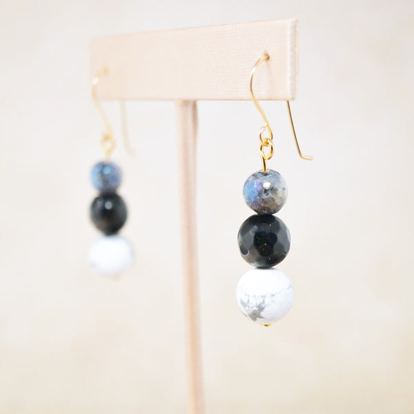 "Howlite, Onyx & Labradorite ""Trois"" Earrings"