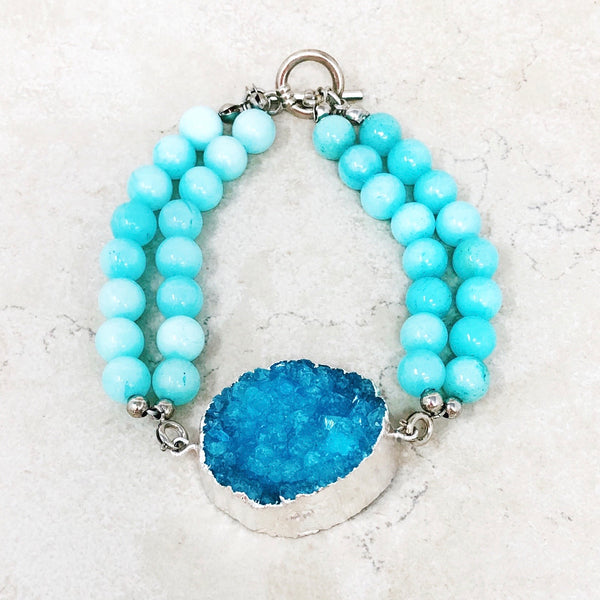 Druzy and Jade Statement Bracelet
