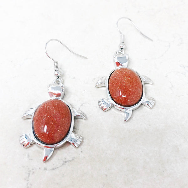Goldstone Turtle Earrings