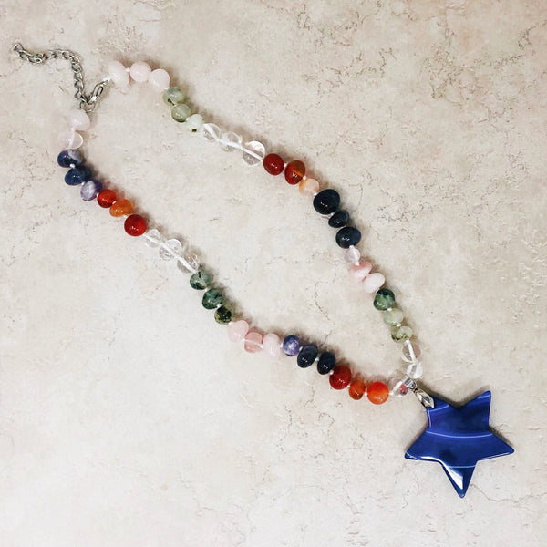 Gemstone Beaded Necklace with Star Pendant