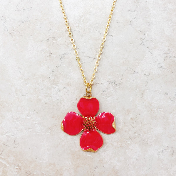 Enameled Dogwood Flower Necklace (Pink)