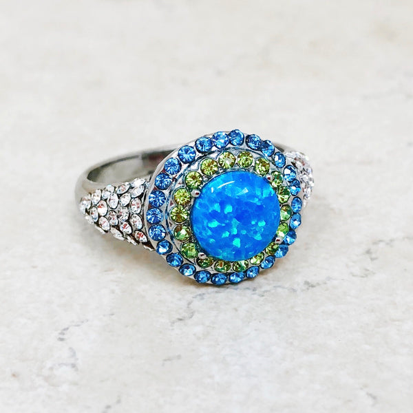 Opal and Rhinestone Ring