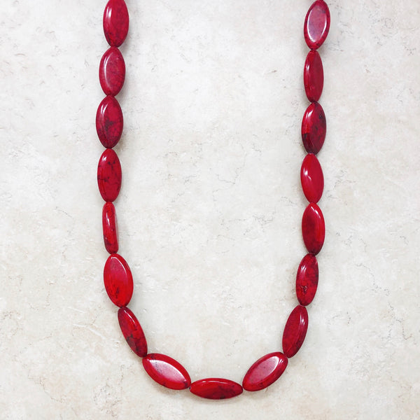 Red Howlite Beaded Statement Necklace