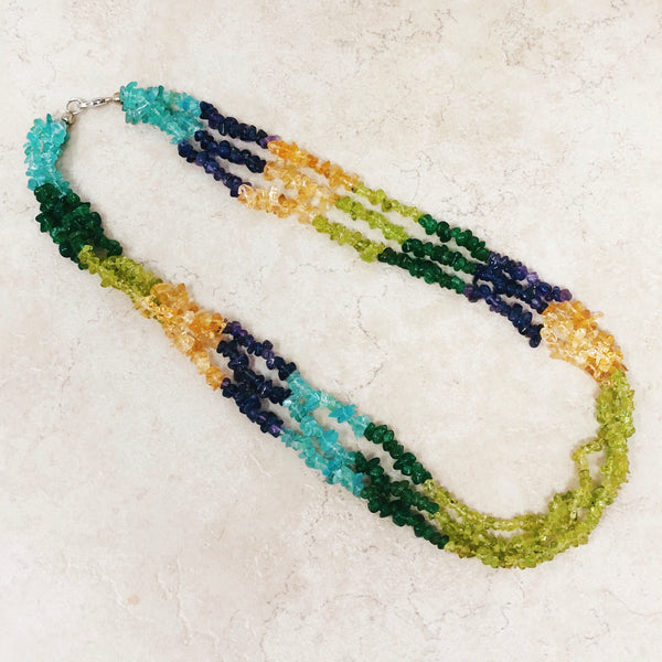 Triple Strand Gemstone Beaded Necklace