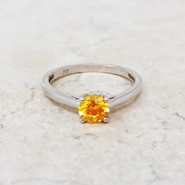 Sterling Silver Ring with Sunflower Crystal