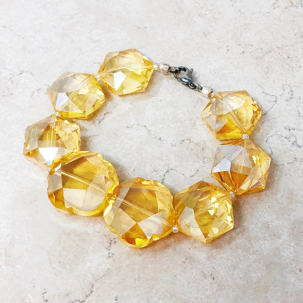 Chunky Crystal Heart Statement Bracelet (Yellow)
