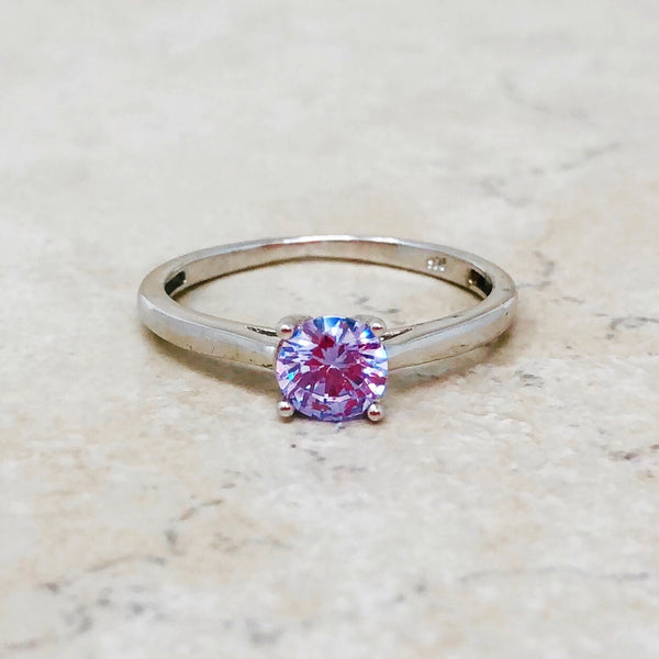 Sterling Silver Ring with Lilac Crystal