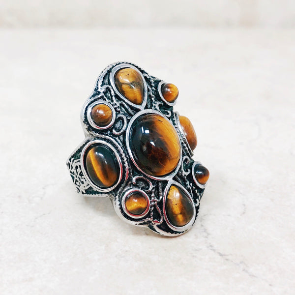 Tiger's Eye Statement Ring
