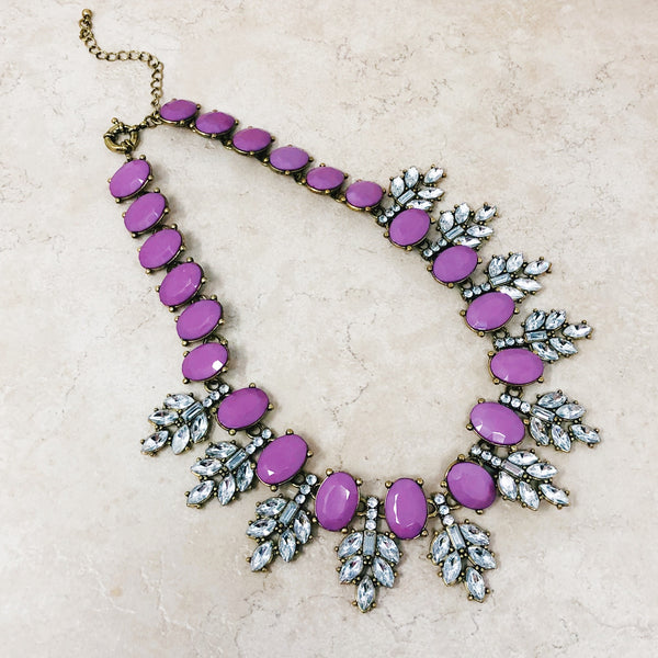 Crystal Statement Necklace (Purple)