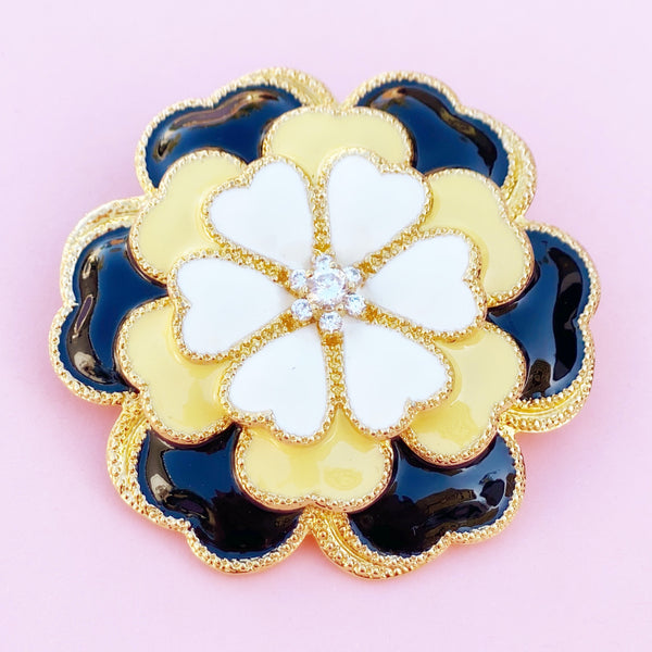 Vintage Black, Yellow & Cream Enamel Figural Flower Statement Brooch, 1990s