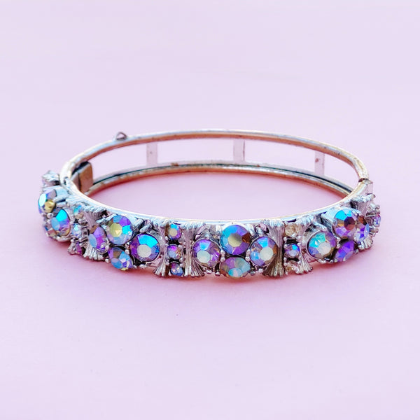 Vintage Blue Aurora Borealis Crystal Hinged Bangle Bracelet by Lisner, 1950s