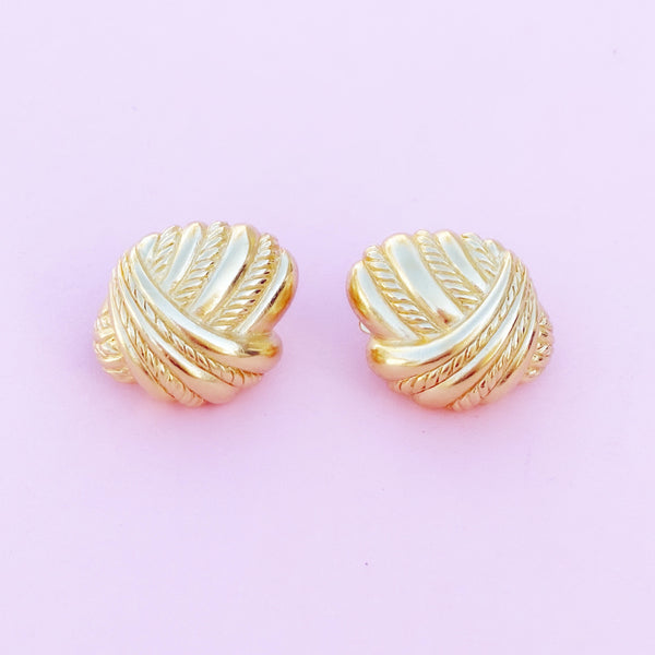 Vintage Gilt Braided Statement Earrings, 1980s