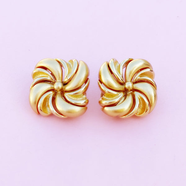 Vintage Gilded Pinwheel Statement Earrings by Monet, 1980s