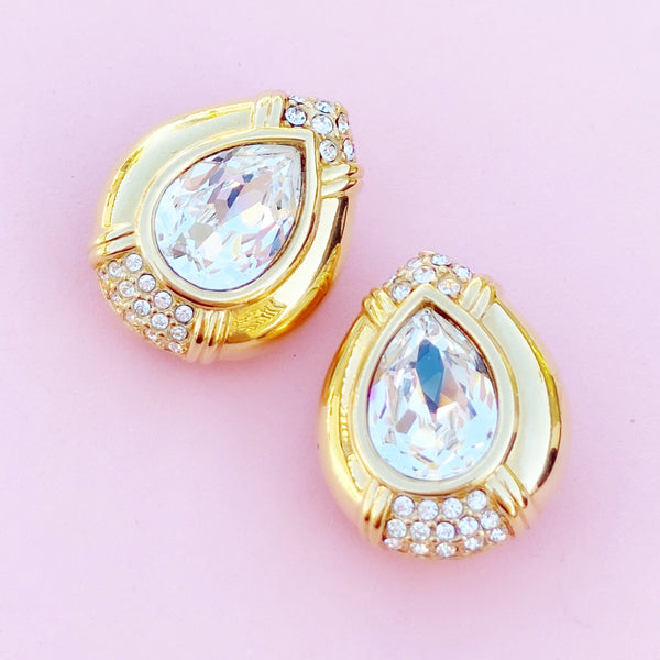 Vintage Gilt & Swarovski Crystal Chunky Teardrop Earrings by Swarovski, 1980s