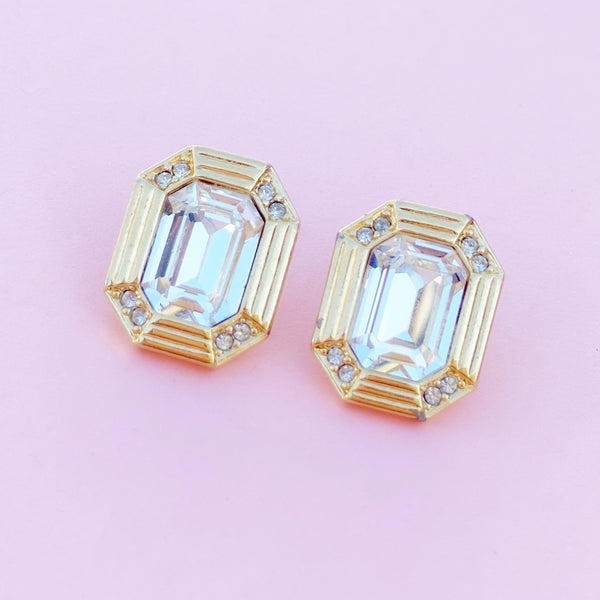 Vintage Gilt & Emerald Cut Crystal Stud Earrings, 1980s