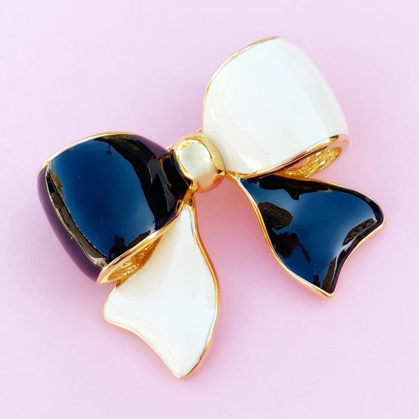 Vintage Black & White Enamel Three Dimensional Bow Statement Brooch by Joan Rivers, 1990s