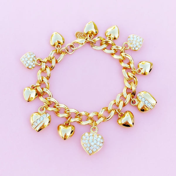 Vintage Gilded Heart Charm Bracelet with Crystal Rhinestones by Nolan Miller, 1990s