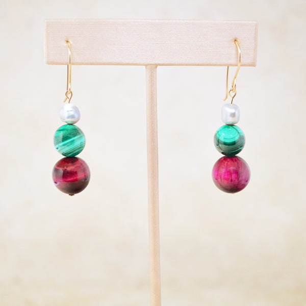 "Pink Tiger's Eye, Malachite & Pearl ""Trois"" Earrings"