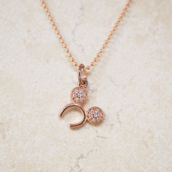 Rose Gold Mouse Ears Pavé Necklace