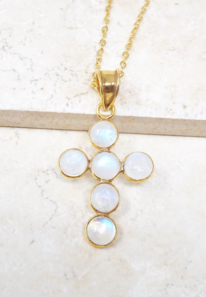 Moonstone Cross Necklace