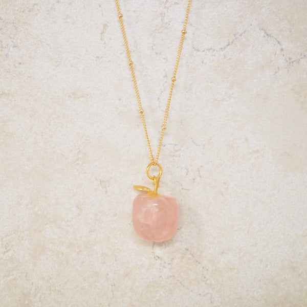 Rose Quartz Apple Necklace