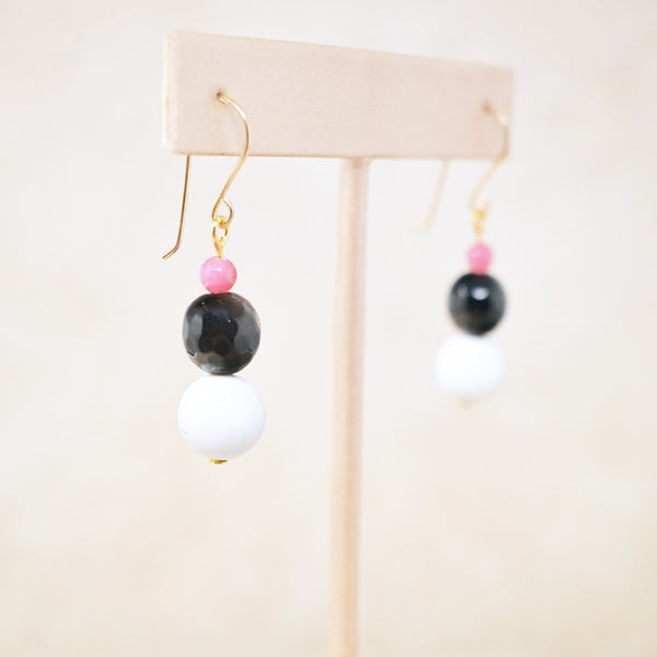 "Ocean Jasper, Onyx & Cherry Quartz ""Trois"" Earrings"