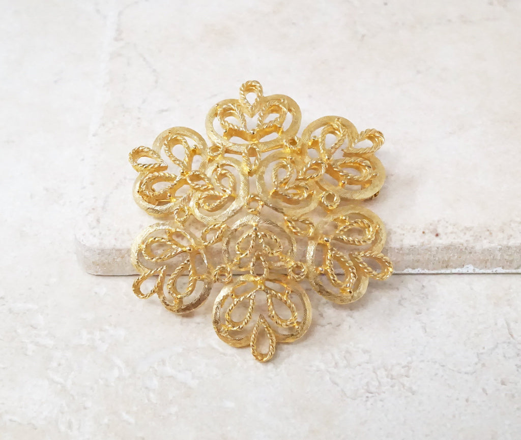 Ornate Filigree Flower Brooch