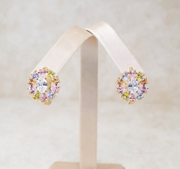 Flower Burst Earrings in Spring Pastel