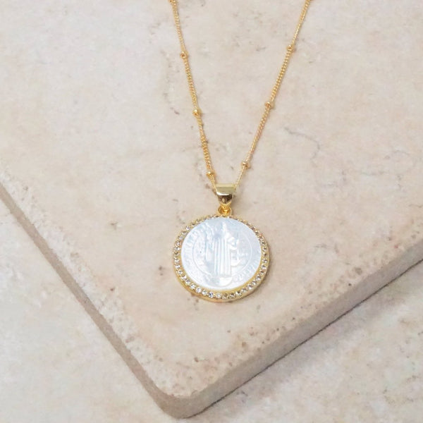Mother of Pearl Saint Jude Necklace