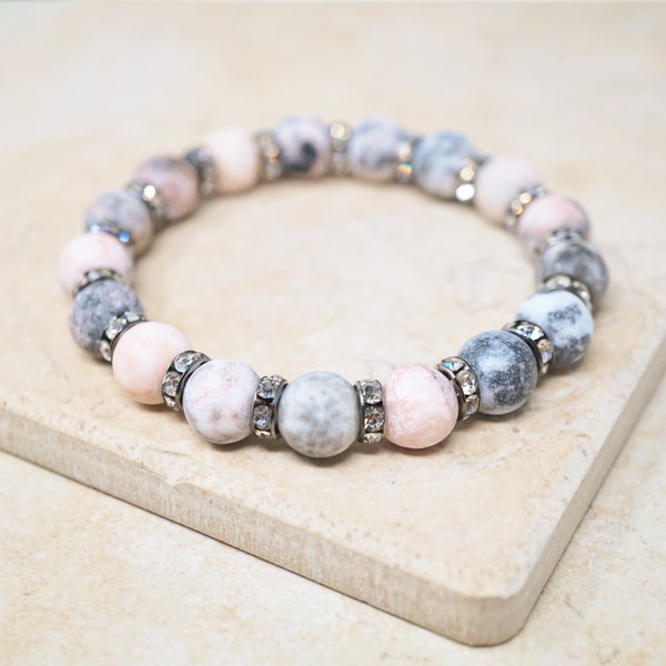 Light Pink Zebra Jasper Gemstone Bracelet