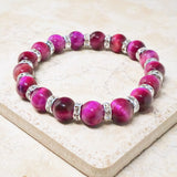 Pink Tiger's Eye Gemstone & Crystal Bracelet