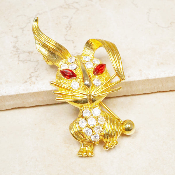 Vintage Gilded Red-Eyed Rabbit Brooch with Rhinestones, 1950s