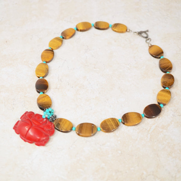 Tiger's Eye & Red Jade Necklace