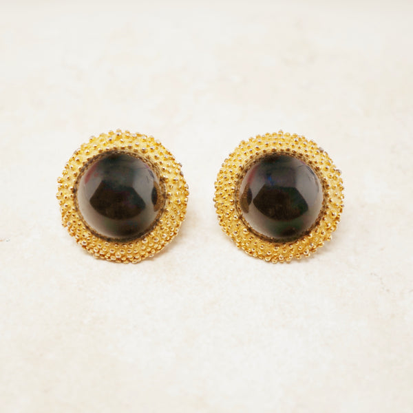 Vintage Onyx Cabochon & Textured Gilt Button Earrings by Crown Trifari, 1960s