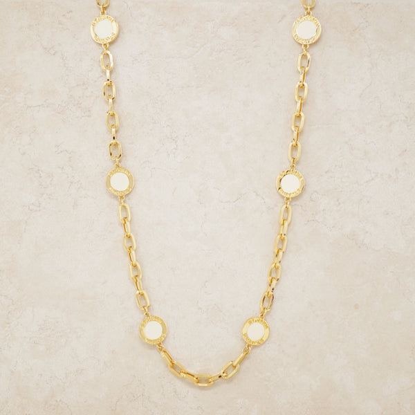 "Vintage 44"" Gilt & Cream Enamel Coin & Chunky Chain Station Necklace by St. John, 1980s"