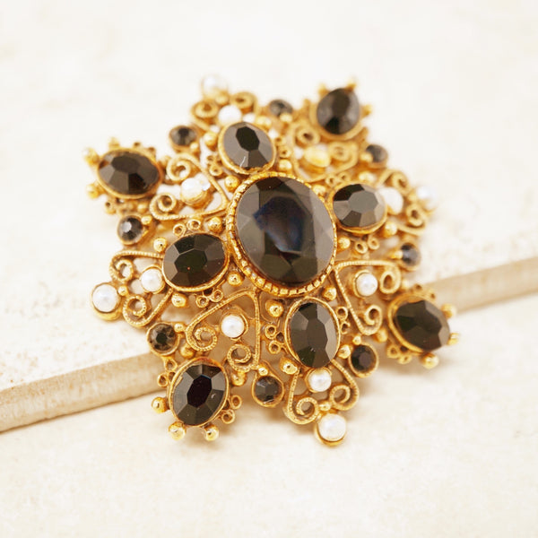 Vintage Ornate Gilded Brooch with Onyx & Pearl Accents by Florenza, 1960s