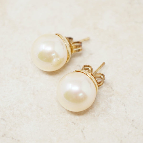 Vintage Large 10mm Pearl & Gold Vermeil Stud Earrings, 1980s