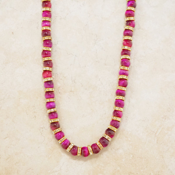 Pink Tiger's Eye Rondelet Necklace