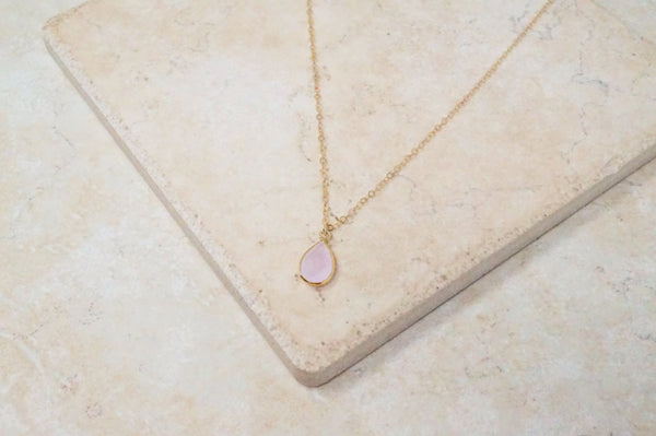 Rose Quartz Teardrop Necklace