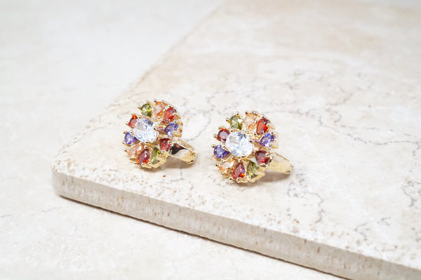 Flower Burst Earrings in Jewel Tone