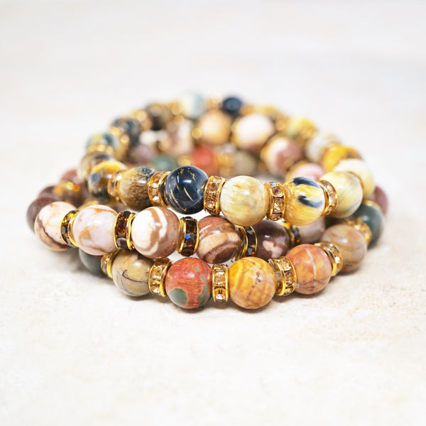 Golden Blue Tiger's Eye Gemstone Bracelet