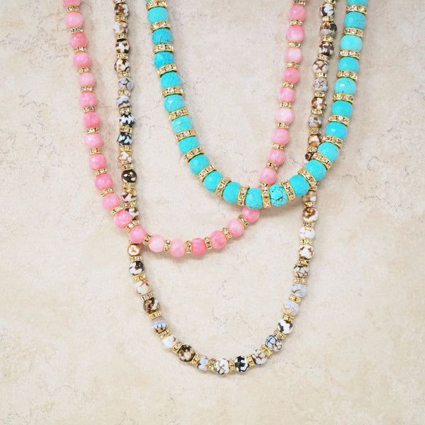 Blue Turquoise Rondelet Necklace